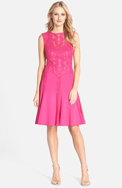 Embroidered Neoprene Fit & Flare Dress by Tadashi Shoji in The Mindy Project