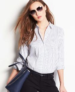 Striped Perfect Button Down Shirt by Ann Taylor in About Last Night