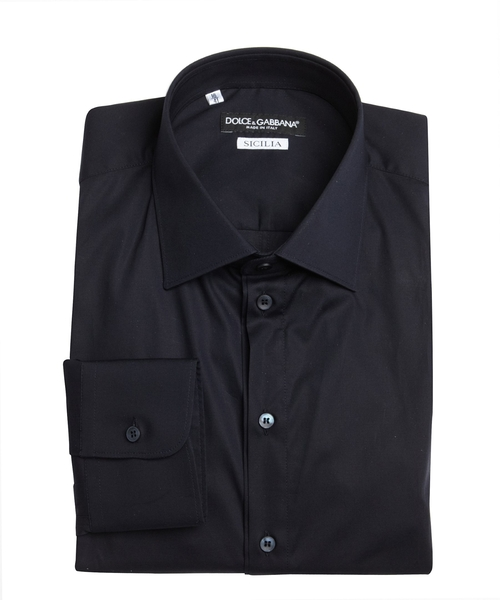 Cotton Point Collar 'Sicilia' Dress Shirt by Dolce & Gabbana in Legend