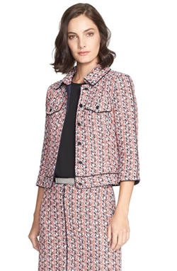 Silk Piping Tweed Knit Jacket by St. John Collection in Empire