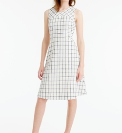Windowpane Tweed Sleeveless A-Line Dress by J. Crew in Supergirl