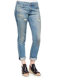 The Dre Faded Distressed Cuffed Jeans by Rag & Bone/JEAN in Jessica Jones