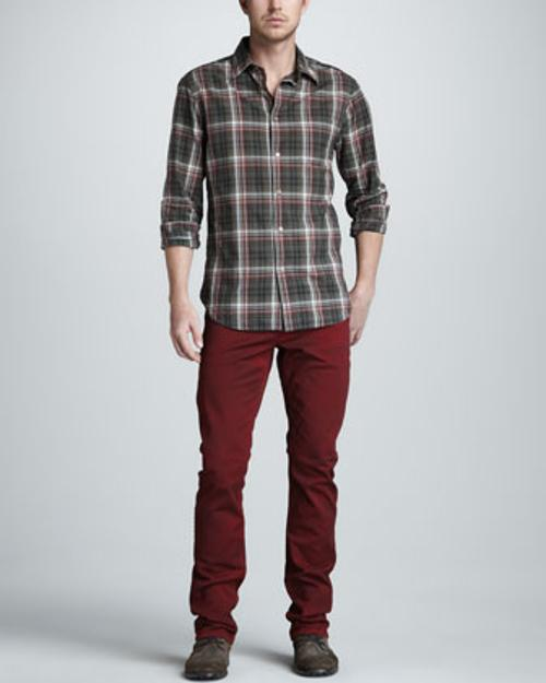 Plaid Long-Sleeve Shirt & Bowery Jeans by John Varvatos Star USA in Sabotage