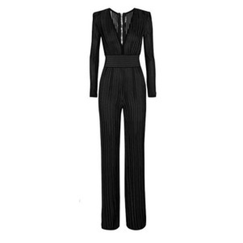 Ribbed Stretch-Knit Jumpsuit by Balmain in Keeping Up With The Kardashians - Season 11 Episode 6