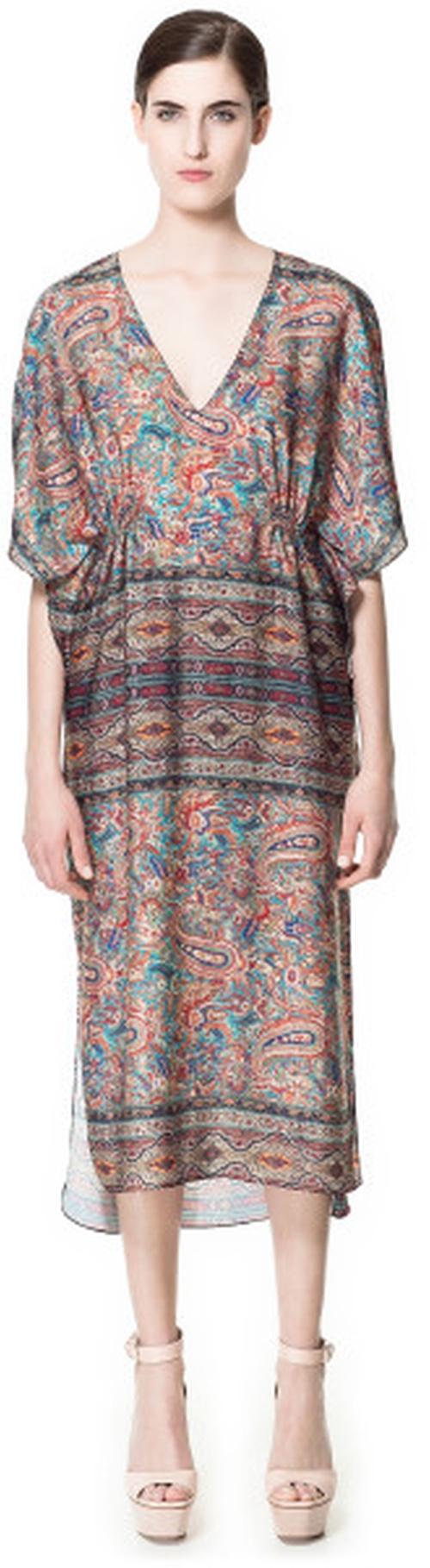 Multicolor Paisley Printed Kaftan Dress by Zara in Tammy