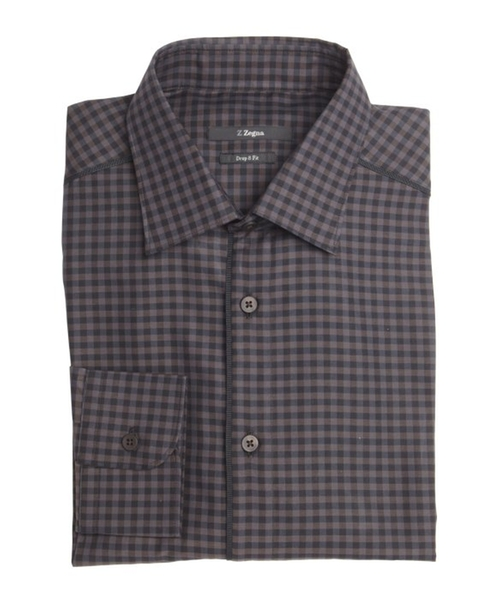 Gingham Check Cotton Point Collar Dress Shirt by Z Zegna in That Awkward Moment