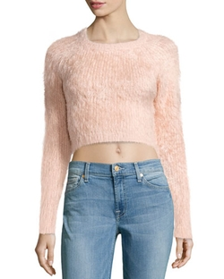 Dolly Fuzzy Cropped Sweater by Lovers + Friends in Scream Queens