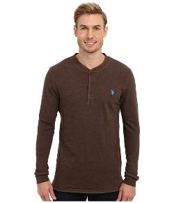 Long Sleeve Slub Henley Pullover Shirt by U.S. Polo Assn. in Chronicle