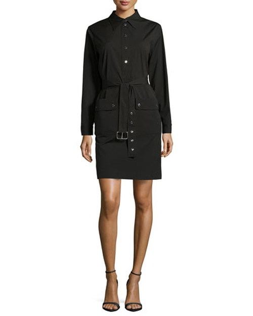 Belted Long-Sleeve Shirtdress by Michael Kors in She's Funny That Way