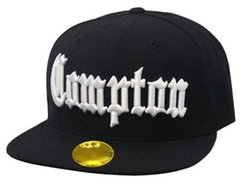 Compton Flat Bill Snapback Black Adjustable Baseball Cap by A.F in Straight Outta Compton