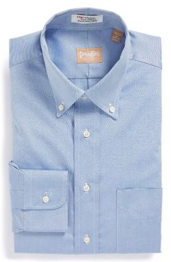 Regular Fit Pinpoint Cotton Oxford Button Down Dress Shirt by Gitman in Into the Storm