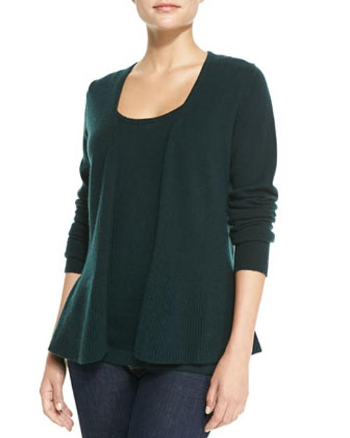 Cashmere Peplum Cardigan by Neiman Marcus in If I Stay