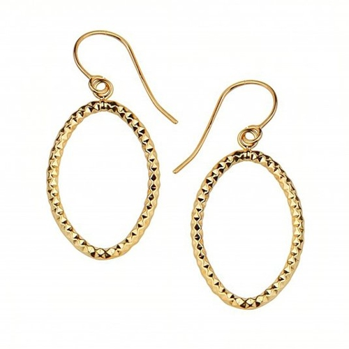 Fluted Texture Hoop Dangle Earrings by Trust Jewelry in Southpaw