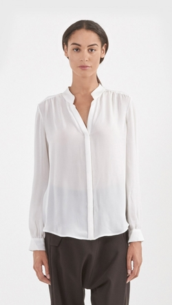 Bianca Band Collar Blouse by L'agence in Jessica Jones