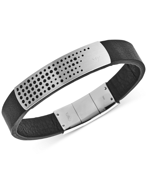 Stainless Steel Black Leather Bracelet by Emporio Armani in Ricki and the Flash