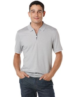 Short Sleeve Textured Zip Polo Shirt by Perry Ellis in Get Hard