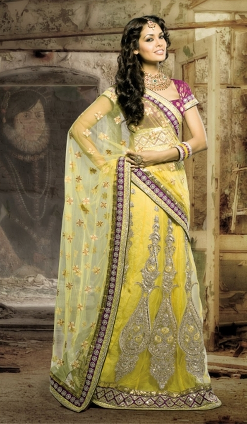 Yellow Net Designer Party Wear Saree with Nice Embroidery by Indian Fashion Trend in The Hundred-Foot Journey