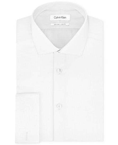 Herringbone Solid French Cuff Shirt by Calvin Klein in Nightcrawler