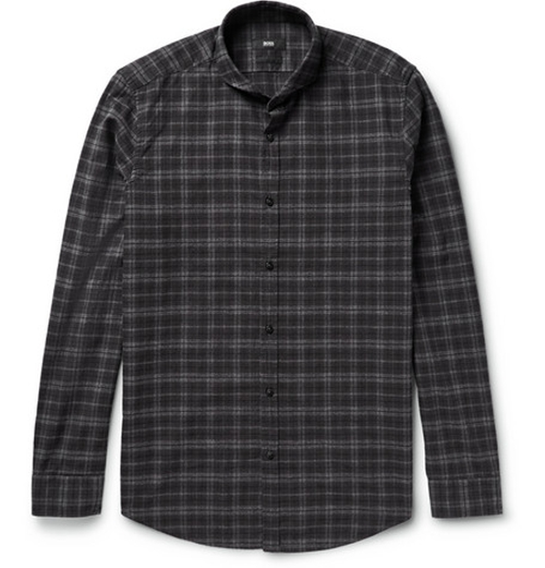 Cutaway-Collar Checked Cotton-Flannel Shirt by Hugo Boss in Scandal - Season 5 Episode 4