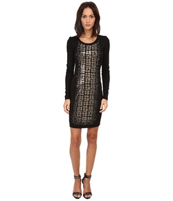 Long Sleeve Animal Sequined Dress by Versace Jeans in The Mindy Project
