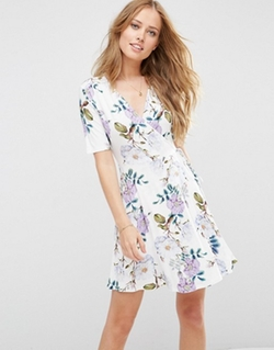Wrap Skater Dress In Floral Print by Asos  in Jane the Virgin