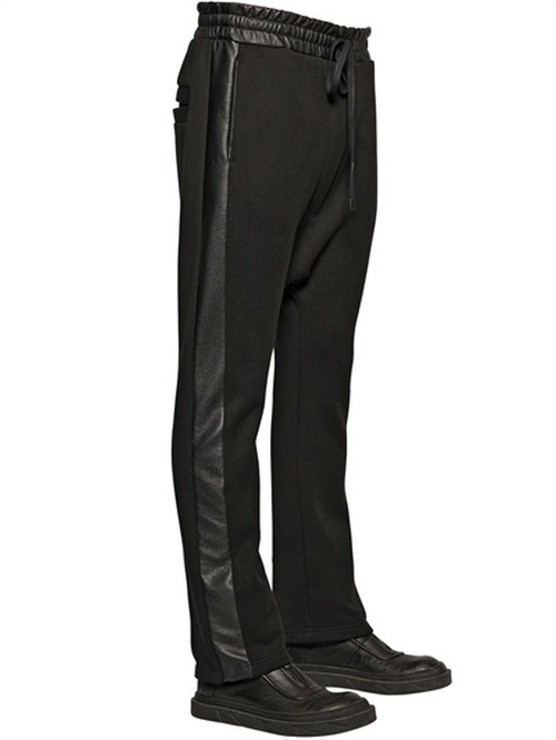 Faux Leather & Cotton Jogging Pants by D By D in We Are Your Friends