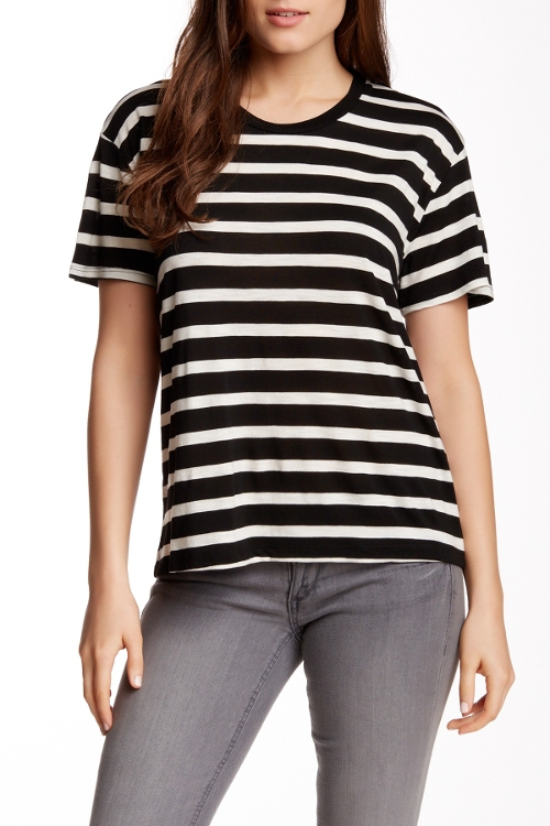 Striped Crew Neck Tee by Velvet by Graham & Spencer in Barely Lethal