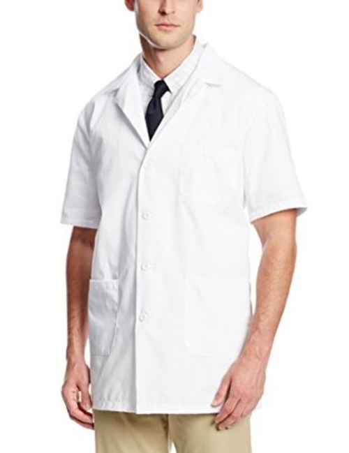 Unisex Short Sleeve Pharmacy Lab Coat by Worklon in Cut Bank