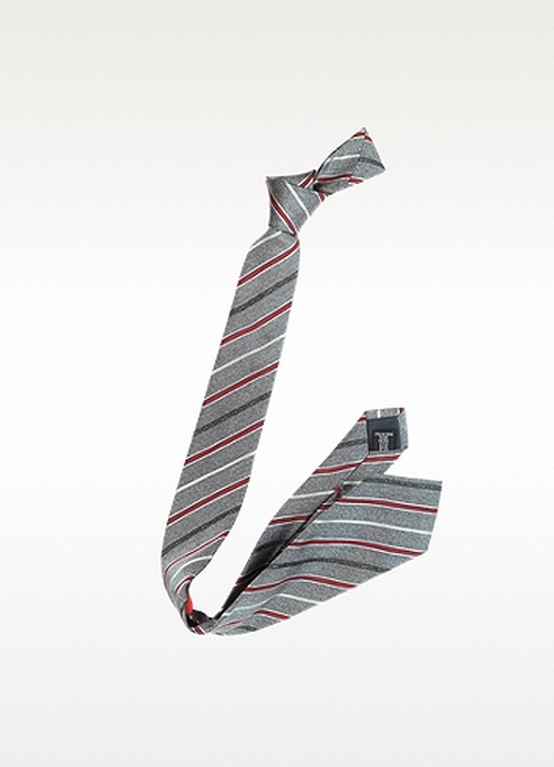 Narrow Woven Silk Striped Tie by Moschino in The Boy Next Door