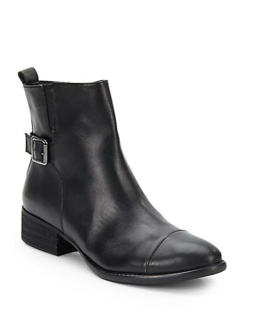 Plata Leather Ankle Boots by Donald J Pliner in Dope
