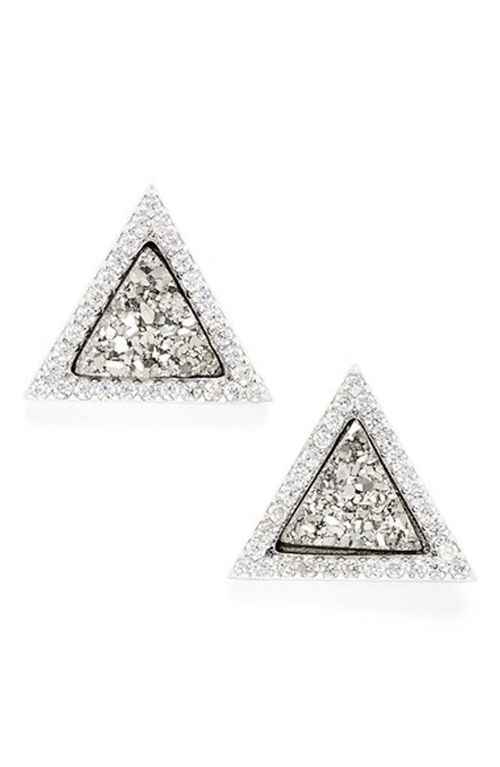 Triange Drusy Stud Earrings by Marcia Moran in Pretty Little Liars - Season 6 Episode 6