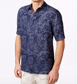 Men's Silk Linen Paisley Short-Sleeve Shirt by Tasso Elba in Keeping Up with the Joneses