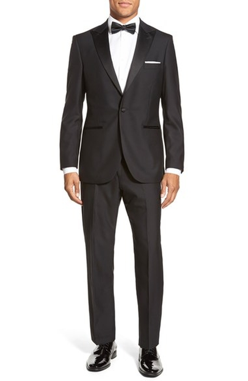 'Aston' Solid Wool Tuxedo Suit by Strong Suit in Modern Family - Season 7 Episode 20