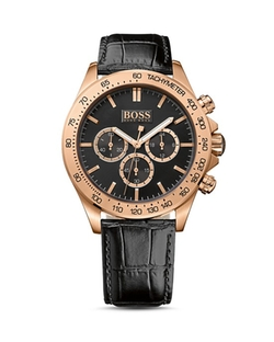 Leather Strap Watch by Hugo Boss in Black-ish