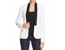 Open-Front Ribbed-Trim Blazer by Calvin Klein in Miss Sloane
