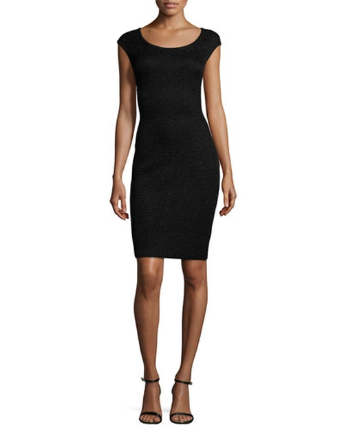 Allure Knit Scoop-Neck Cap-Sleeve Sheath Dress by St. John Collection in Keeping Up With The Kardashians - Season 11 Episode 2