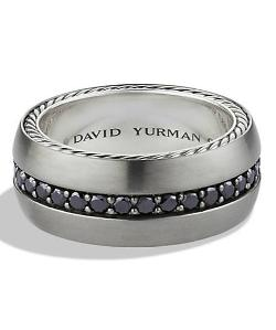 Streamline Wide Band Ring with Black Diamonds by David Yurman in Addicted