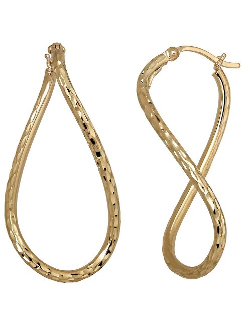 14 Kt. Yellow Gold Textured Hoop Earrings by Lord & Taylor in Focus