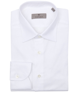 White Piqué Cotton Spread Collar Dress Shirt by Canali in Life