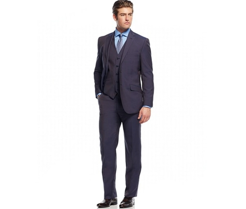 Solid Slim-Fit Vested Suit by English Laundry in Black Mass