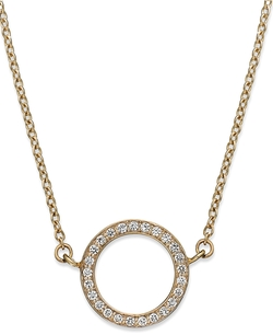 Diamond Open Circle Pendant Necklace by YellOra in Ballers
