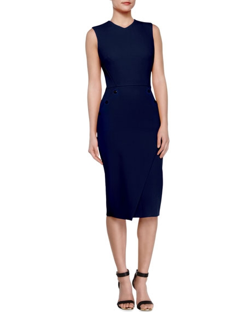 Studded Open-Back Bias-Slit Sheath Dress by Victoria Beckham in Suits - Season 6 Episode 10