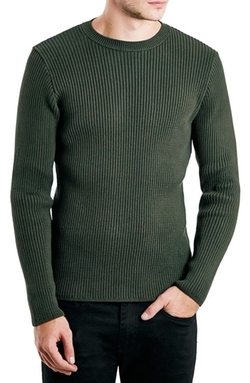 Chunky Rib Knit Crewneck Sweater by Topman in The Choice