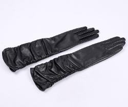 Winter Fleece Lined Ruched Elbow Length Long Evening Dress Leather Gloves by Warmen in Frank Miller's Sin City: A Dame To Kill For