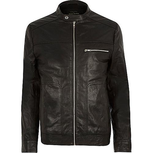 Black Leather Racer Biker Jacket by River Island in Arrow - Season 4 Episode 8