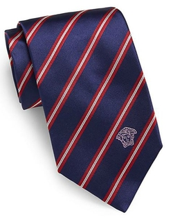 Diagonal Striped Silk Tie by Versace in Suits