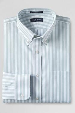 Men's Slim Fit Buttondown Pattern No Iron Pinpoint Dress Shirt by Lands' End in What If
