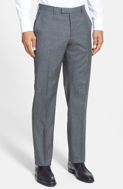 'Sharp' Flat Front Wool Trousers by Boss Hugo Boss in Run All Night