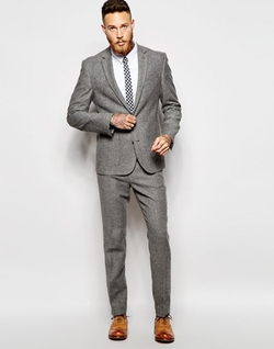 Slim Tweed Suit Jacket by Asos in Chelsea