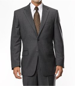 Traveler Tailored Fit 2-Button Windowpane Suits by Jos. A. Bank in Blackhat